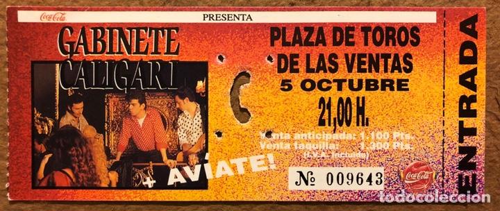 GABINETE CALIGARI + AVÍATE!. ENTRADA COMPLETA CONCIERTO PLAZA TOROS LAS VENTAS (MADRID) EN 1991 (Música - Entradas)