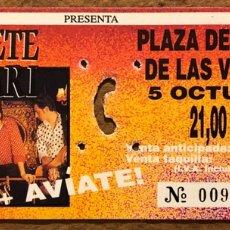 Entradas de Conciertos: GABINETE CALIGARI + AVÍATE!. ENTRADA COMPLETA CONCIERTO PLAZA TOROS LAS VENTAS (MADRID) EN 1991. Lote 196135043