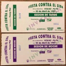 Biglietti di Concerti: FIESTA CONTRA EL SIDA EN LA DISCOTECA YOUNG PLAY (HERNANI), 1993. LOTE 2 ENTRADAS. Lote 196310035