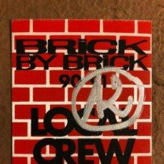 Entradas de Conciertos: IGGY POP, BRICK BY BRICK TOUR 90/91. PASE CONCIERTO SAN SEBASTIÁN EN 1991... Lote 196321220