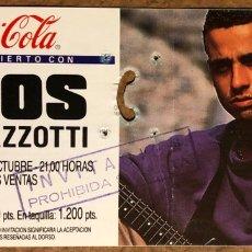 Entradas de Conciertos: EROS RAMAZZOTTI. ENTRADA COMPLETA CONCIERTO EN PLAZA TOROS LAS VENTAS (MADRID) EN 1988.. Lote 196559680