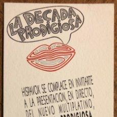 Entradas de Conciertos: LA DÉCADA PRODIGIOSA. INVITACIÓN CONCIERTO EN SALA JOY ESLAVA (MADRID) EN 1991.. Lote 196664092