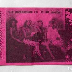Entradas de Conciertos: ENTRADA-INVITACIÓN DE XOXONEES EN ARTÍCULO 26.- DE BARCELONA, 1988. Lote 196961133
