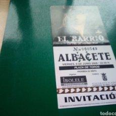 Entradas de Conciertos: ENTRADA ANTIGUA DE UN CONCIERTO MUSICAL DE EL BARRIO. GIRA LA VOZ DE MI SILENCIO. ALBACETE. 2008. Lote 197217732