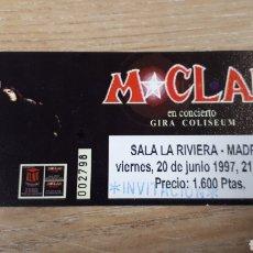 Entradas de Conciertos: ENTRADA CONCIERTO DE M CLAN. Lote 197882433
