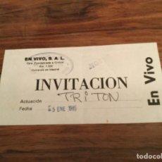 Entradas de Conciertos: ENTRADA CONCIERTO TRITON EN VIVO 1985. Lote 199578378