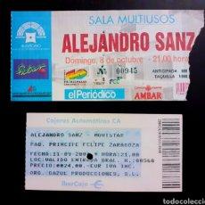 Entradas de Conciertos: DOS ENTRADAS ALEJANDRO SANZ 1995 CONCIERTO EL PILAR, ZARAGOZA Y 2004. . Lote 201263730