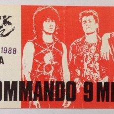 Entradas de Conciertos: COMMANDO 9 MM ROCK CLUB MADRID LA UVI. Lote 202031748