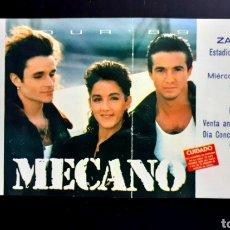 Entradas de Conciertos: ENTRADA MECANO CONCIERTO 1989 ZARAGOZA ROMAREDA. Lote 206361041