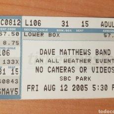 Entradas de Conciertos: ENTRADA CONCIERTO DAVE MATTHEWS BAND SBC PARK 12/8/2005 LOTE 18. Lote 206381780