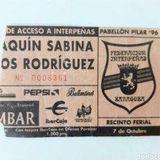 Entradas de Conciertos: ENTRADA JOAQUÍN SABINA LOS RODRÍGUEZ CONCIERTO 1996. INTERPEÑAS. ZARAGOZA. Lote 206362407