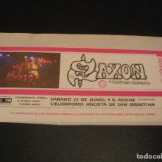 Entradas de Conciertos: SAXON ENTRADA SIN NUMERAR GIRA TOUR SAN SEBASTIAN 1985 COMPLETA ENGANCHADA. Lote 207488070
