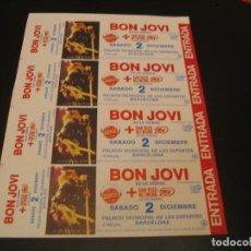 Bilhetes de Concertos: BON JOVI 4 ENTRADAS PRUEBAS DEL PROMOTOR BARCELONA 1989 SIN NUMERAR. Lote 207490022