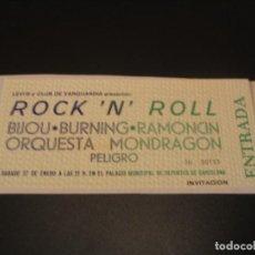 Billets de concerts: RESERVADA MARCOS BURNING BIJOU RAMONCIN PELIGRO MONDRAGÓN ENTRADA INVITACIÓN GIRA TOUR BARCELONA 79. Lote 207859275