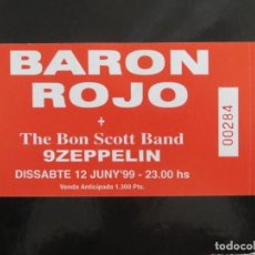 Entradas de Conciertos: BARON ROJO + BON SCOTT BAND : TICKET BARCELONA 1999. Lote 207864936