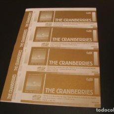 Bilhetes de Concertos: THE CRANBERRIES SET 4 ENTRADAS PRUEBAS DEL PROMOTOR GIRA TOUR MADRID 1999 SIN NUMERAR. Lote 209338320