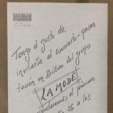 Entradas de Conciertos: LA MODE. INVITACIÓN CONCIERTO PRESENTACIÓN EN BILBAO EN LA SALA BOLOS LOCAL MUSICAL (1983). Lote 211650173