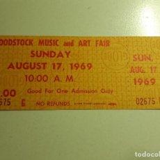 Biglietti di Concerti: ENTRADA ORIGINAL AL FESTIVAL DE WOODSTOCK ( DOMINGO 17 DE AGOSTO DE 1969 ). Lote 212080958