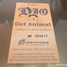 Entradas de Conciertos: DIO EN CONCIERTO + GET ANIMAL ENTRADA DIO RAINBOW BLACK SABBATH. Lote 214353413