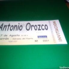 Entradas de Conciertos: ANTIGUA ENTRADA DE CONCIERTO. ANTONIO OROZCO. MAZARRÓN (MURCIA). NÚMERO 1. Lote 216355030