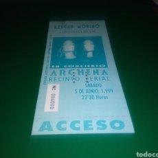 Entradas de Conciertos: ANTIGUA ENTRADA DE CONCIERTO. AZÚCAR MORENO Y ORQUESTA BRASS. ARCHENA (MURCIA). 1999. NÚMERO: 4.000. Lote 216357540