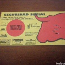 Entradas de Conciertos: ENTRADA CONCIERTO SEGURIDAD SOCIAL INVITACIÓN 14 AGOSTO TORRELAVEGA. Lote 217651042