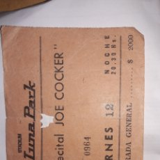 Billets de concerts: ENTRADA JOE COCKER ARGENTINA 1977 ORIGINAL. Lote 218055661
