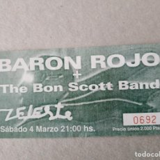 Entradas de Conciertos: ENTRADA CONCIERTO BARON ROJO. SALA ZELESTE. BARCELONA. LA DE LA FOTO.. Lote 220852860
