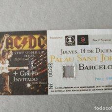 Entradas de Conciertos: ENTRADA CONCIERTO AC/DC. PALAU SANT JORDI. BARCELONA. LA DE LA FOTO.. Lote 220852966