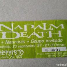 Biglietti di Concerti: ENTRADA CONCIERTO NAPALM DEATH. SALA MEPHISTO. BARCELONA. LA DE LA FOTO. Lote 220904473