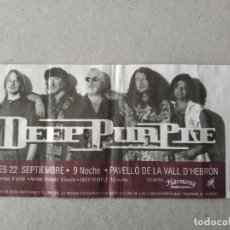 Biglietti di Concerti: ENTRADA CONCIERTO DEEP PURPLE. PAVELLO DE LA VALL D'HEBRON. LA DE LA FOTO. Lote 220953635