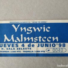 Billets de concerts: ENTRADA CONCIERTO YNGWIE MALMSTEEN. SALA CELESTE 1998. LA DE LA FOTO. Lote 220958547