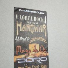 Billets de concerts: ENTRADA CONCIERTO V FESTIVAL LORCA ROCK. MURCIA. MANOVAR, MAGO DE OZ, DORO... LA DE LA FOTO.. Lote 220967158
