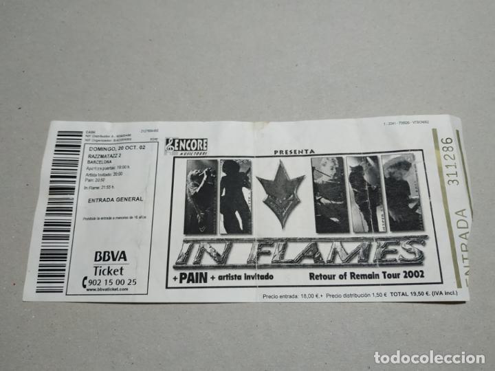 ENTRADA CONCIERTO. IN FLAMES-PAIN-OTRO REOTUR OF REMAIN TOUR 2002. SALA RAZZMATAZZ. LA DE LA FOTO (Música - Entradas)