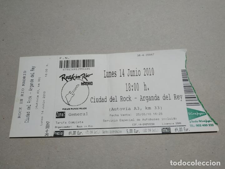 ENTRADA CONCIERTO ROCK IN RIO. CIUDAD DEL ROCK, ARGANDA DEL REY, 2010. LA DE LA FOTO (Música - Entradas)