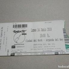 Entradas de Conciertos: ENTRADA CONCIERTO ROCK IN RIO. CIUDAD DEL ROCK, ARGANDA DEL REY, 2010. LA DE LA FOTO. Lote 222022191