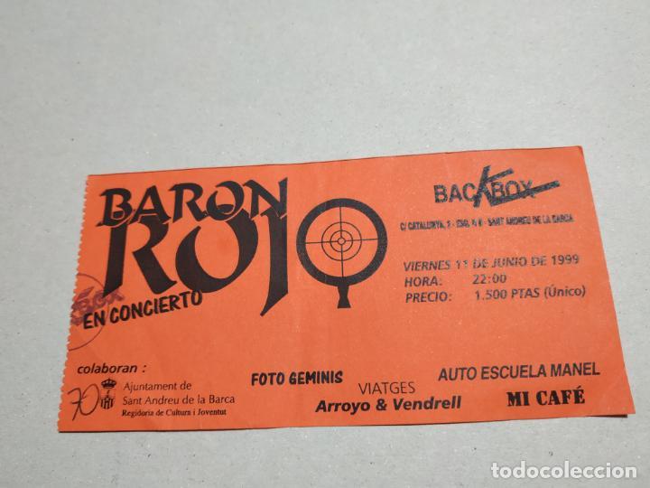ENTRADA CONCIERTO BARON ROJO. BACKBOX, SANT ANDREU DE LA BARCA. LA DE LA FOTO (Música - Entradas)