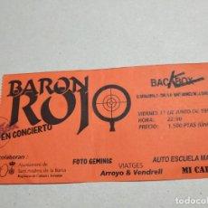 Entradas de Conciertos: ENTRADA CONCIERTO BARON ROJO. BACKBOX, SANT ANDREU DE LA BARCA. LA DE LA FOTO. Lote 222031237