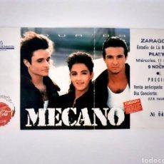 Entradas de Conciertos: ENTRADA MECANO CONCIERTO 1989 ZARAGOZA ROMAREDA CONCIERTO MÍTICO. Lote 222231385