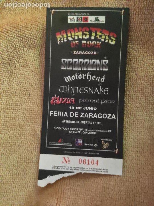 ENTRADA MONSTERS OF ROCK. SCORPIONS-MOTORHEAD-OTROS. FERIA DE ZARAGOZA. LA DE LA FOTO (Música - Entradas)