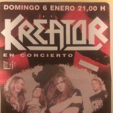 Billets de concerts: KREATOR + OVERTTHROW FLYER DEL CONCIERTO BARCELONA SALA ZELESTE. Lote 230078305
