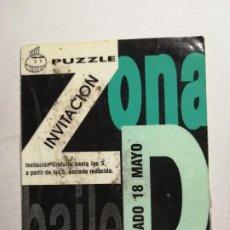 Bilhetes de Concertos: ENTRADA DISCOTECA O INVITACIÓN RUTA BACALAO VALENCIA - PUZZLE ZONA DE BAILE. Lote 234845070
