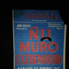Bilhetes de Concertos: ENTRADA CONCIERTO ÑU MURO EXTREMODURO BARCELONA 1990. Lote 234967175