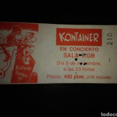 Bilhetes de Concertos: ENTRADA CONCIERTO KONTAINER BARCELONA 1990. Lote 234971190