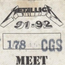 Entradas de Conciertos: METALLICA - PASE DE BACKSTAGE - GIRA MEET 'N' GREET - MADRID 1991 O 1992 #. Lote 235418415