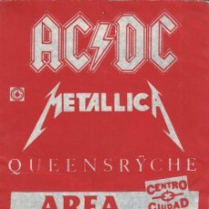 Entradas de Conciertos: AC DC + METALLICA + QUEENSRYCHE - GIRA 1991 - POSIBLEMENTE MONSTERS OF ROCK - PASE DE BACKSTAGE #. Lote 235420220