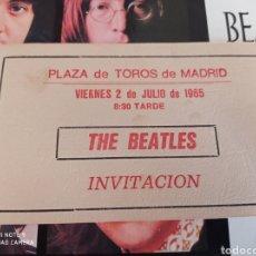 Entradas de Conciertos: THE BEATLES ENTRADA-INVITACION PLAZA TOROS MADRID AÑO 1965. Lote 235629395