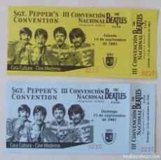 Biglietti di Concerti: LOTE 2 ENTRADAS II CONVENCION NACIONAL THE BEATLES FANS ALGINET VALENCIA 2002. Lote 235925860
