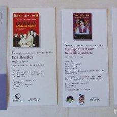 Entradas de Conciertos: LOTE 4 TARJETONES INVITACIONES PRESENTACIONES DE LIBROS SOBRE LOS BEATLES. Lote 235932190