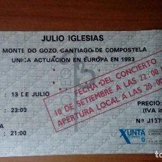 Biglietti di Concerti: ENTRADA JULIO IGLESIAS 1993,CONCIERTO MONTE DEL GOZO. UNICA ACTUACION EN EUROPA. Lote 236733460